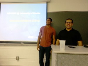 Our President and Executive Vice President leading the first INFORMS meeting of the semester.
