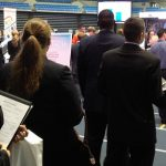 Students stand in line at the spring career showcase