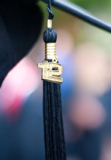 Close-up of a 2012 graduation tassel