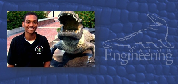 Sheldon Anderson in front of the UF gator statue, superimposed over the Gator Engineering logo