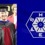 Dr. Capehart in academic regalia, superimposed over ASHRAE logo