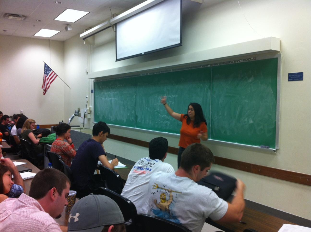Natzia Jimenez-Drack delivers a lecture to students