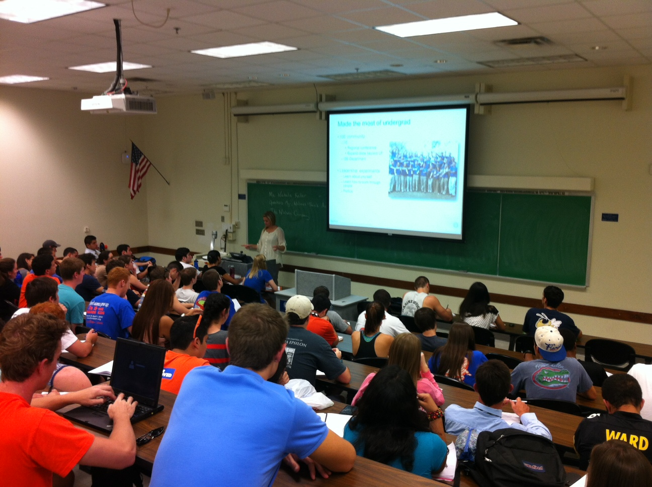 Keller delivers a lecture to students