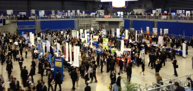 Overhead shot of the career showcase