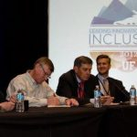 Hudson, Renwick, and Thomas speak at a panel on inclusion