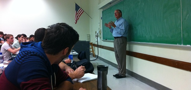Charles Frock delivers a lecture to students