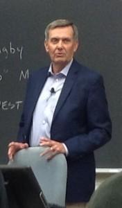 David Thomas addresses student questions