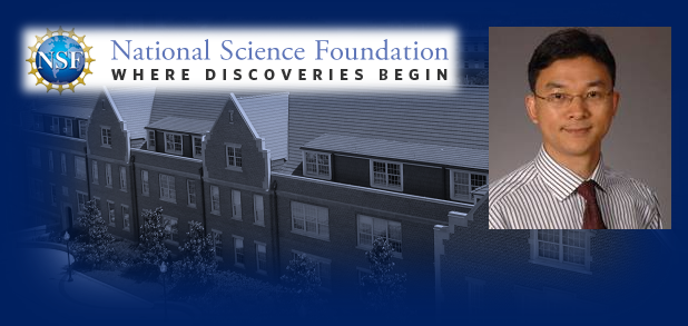 George Lan profile picture and National Science Foundation logo superimposed over picture of Weil Hall