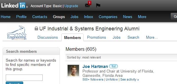 Screenshot of UF ISE LinkedIn page