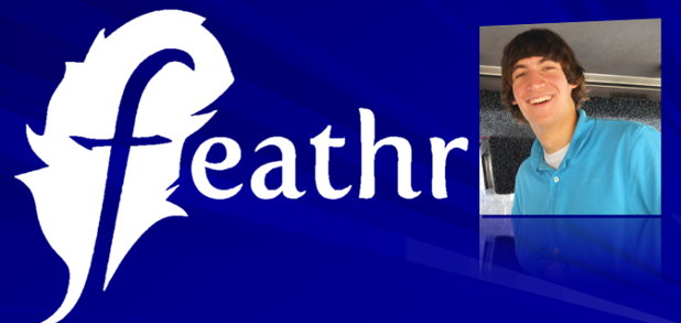feathr logo and founder