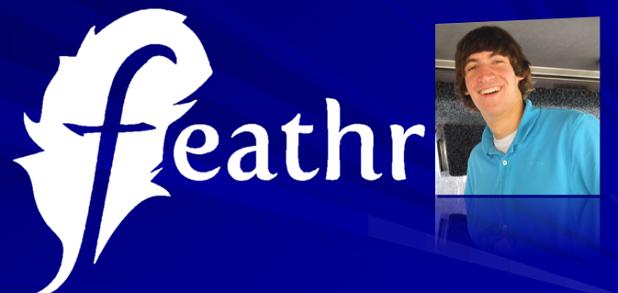 feathr logo and founder