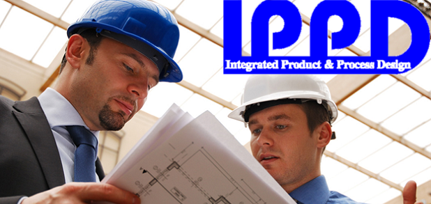 The IPPD logo superimposed over two construction workers looking at blueprints