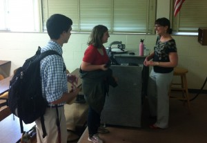 Susan Lin speaks with students after her lecture