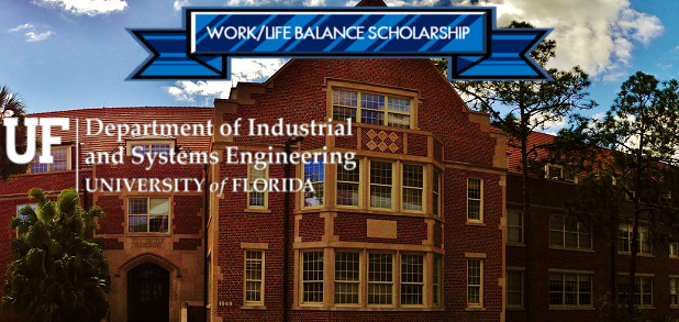 Work Life Balance scholarship logo superimposed over picture of Weil Hall
