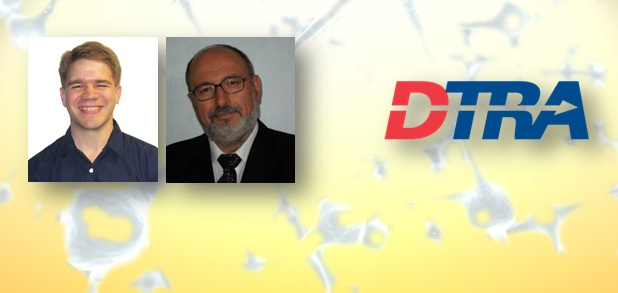 Dr. Smith and Dr. Pardalos' portraits, superimposed over the DTRA logo