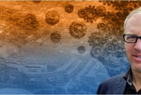 Dr. David Kaber profile picture, superimposed over an orange and blue background
