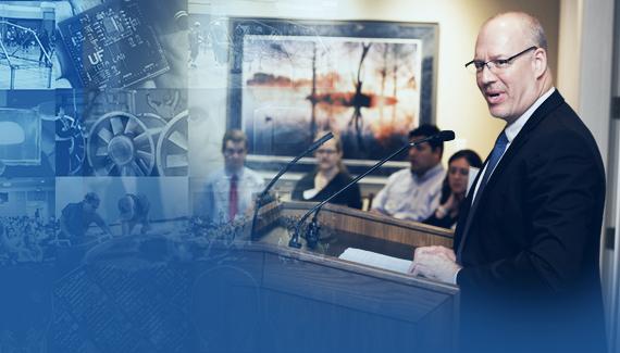 Dr. David Kaber delivering a speech