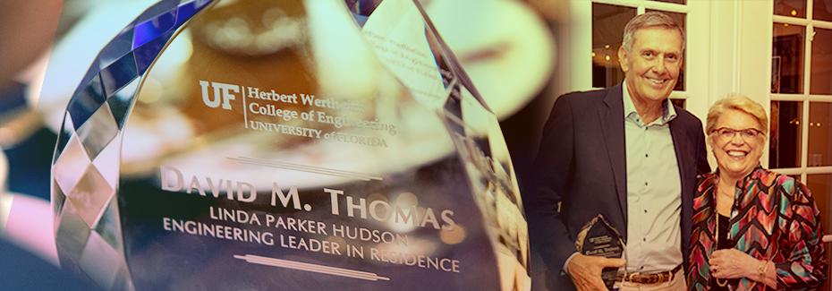 David Thomas and Linda Parker hudson stand alongside the Linda Parker Hudson Leadership Residence Award