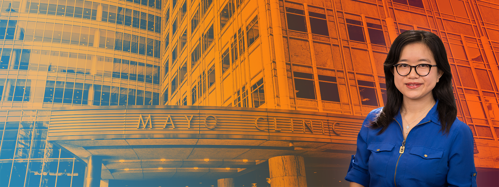 Xiang Zhong profile picture superimposed over the Mayo Clinic