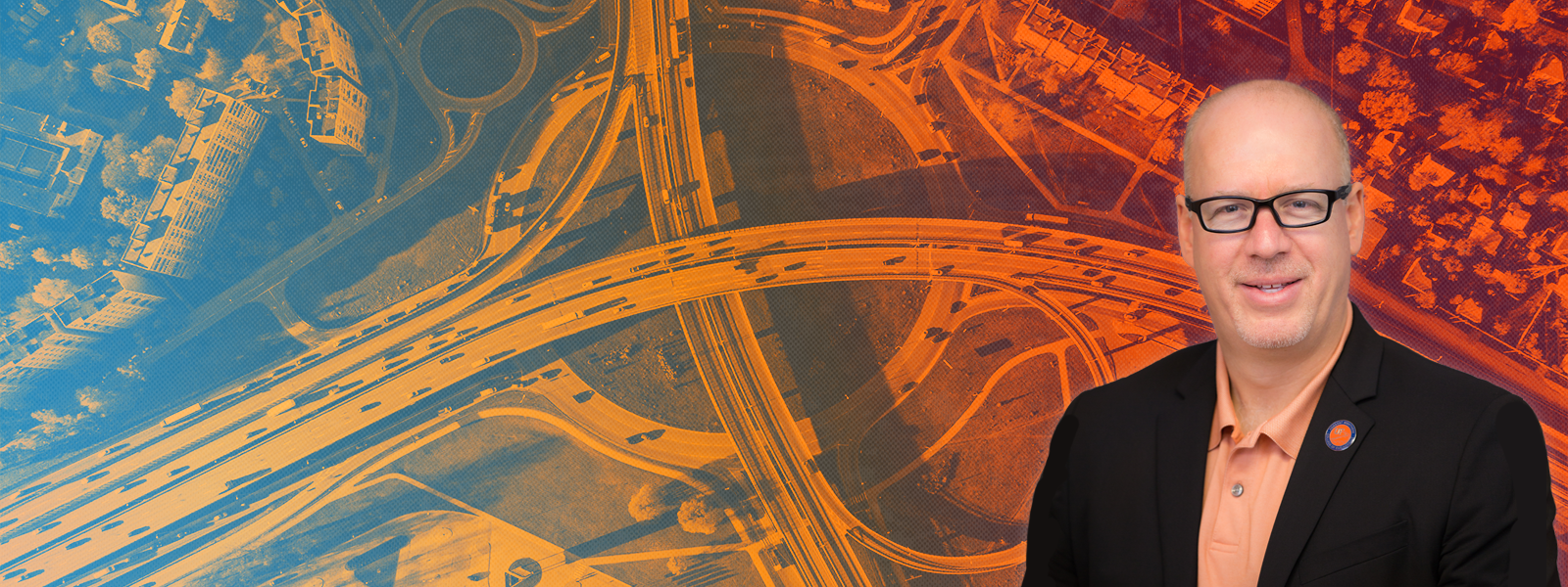 Dr. David Kaber's profile picture, superimposed over an aerial shot of roadways